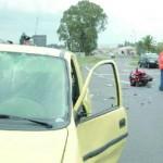 L'auto e la moto coinvolte nell'incidente