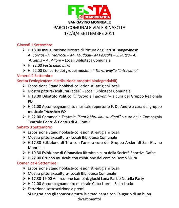 Locandina Festa Democratica