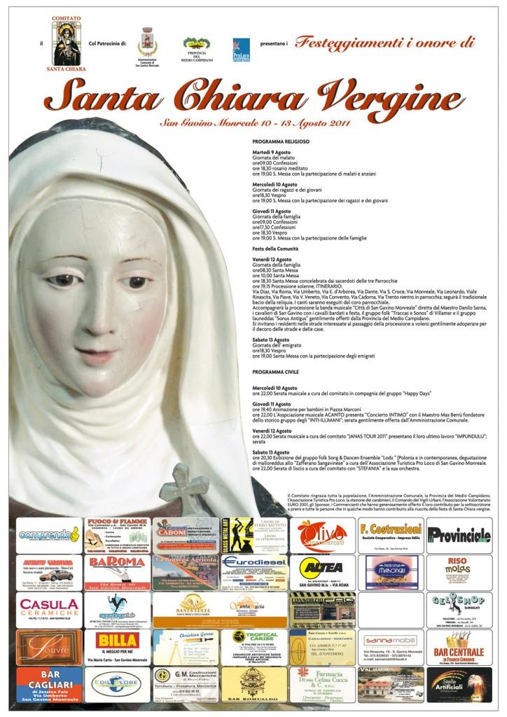 Programma della festa di Santa Chiara