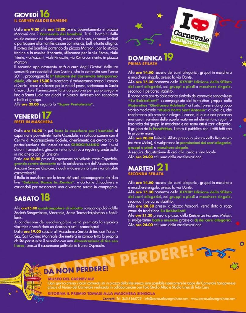 Il programma del Carnevale Sangavinese 2012