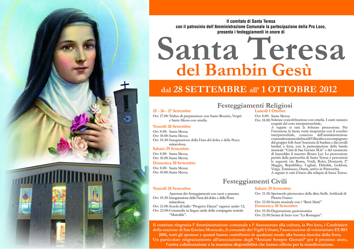 Locandina della festa di Santa Teresa