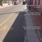 I parcheggi di viale Rinascita, con una segnaletica tutta da decifrare