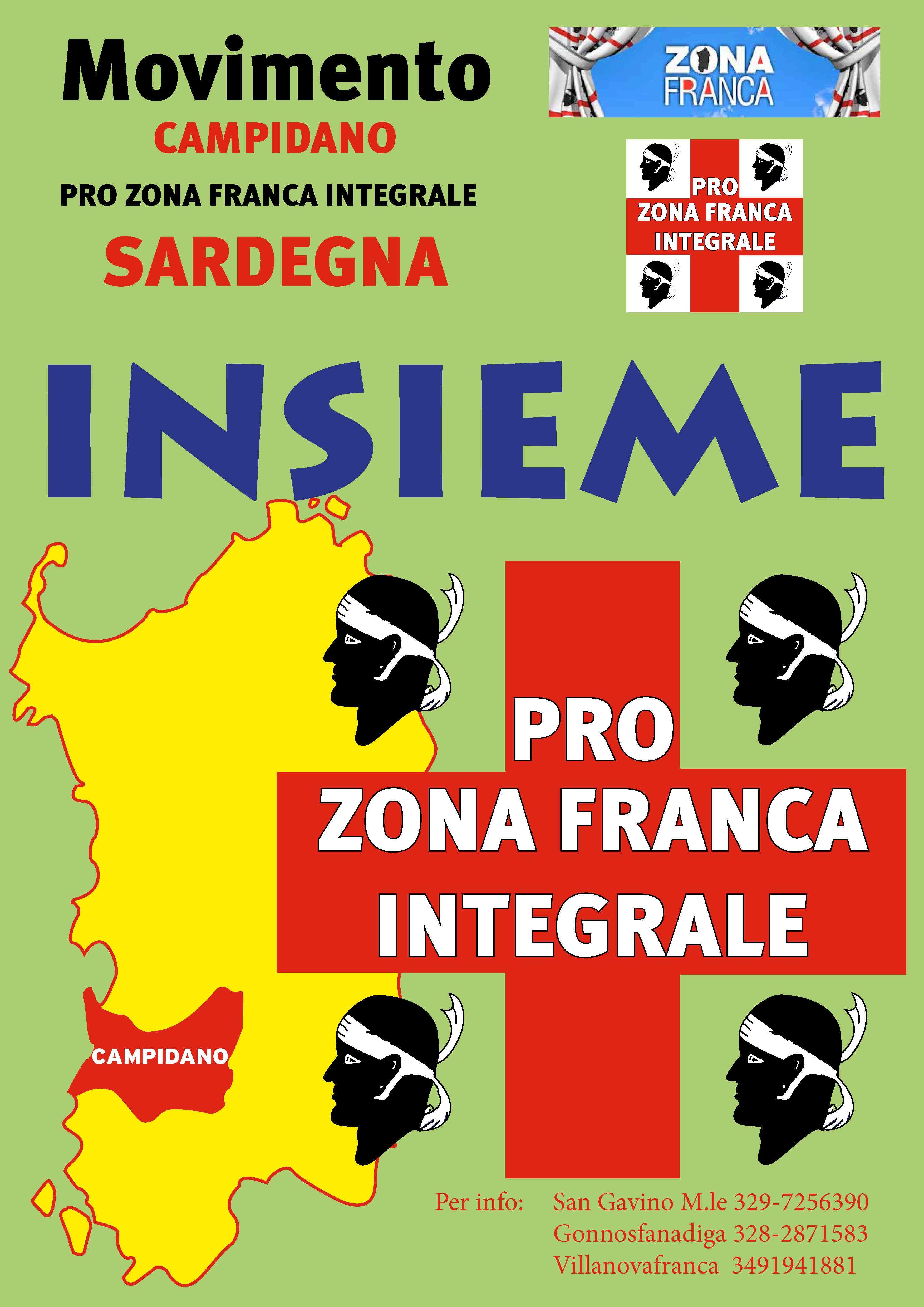 La locandina del Movimento Campidano Pro Zona Franca Integrale