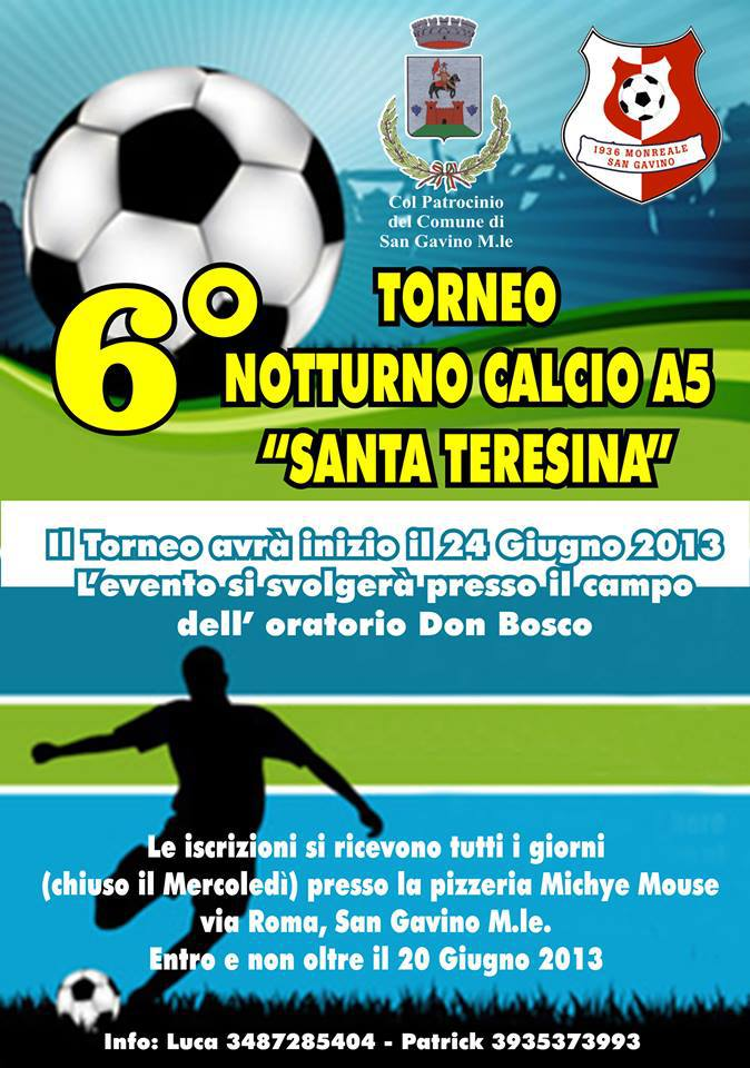 "6° Torneo di Calcio a 5 ""Santa Teresina"""
