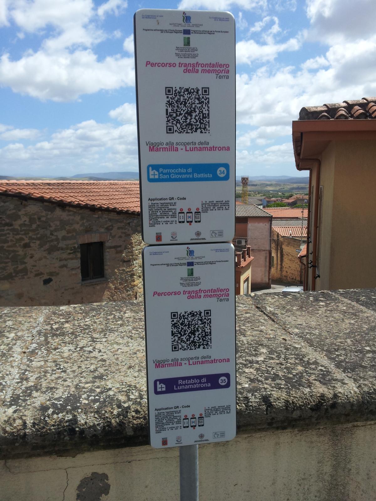 Cartelli informativi presso i monumenti di Lunamatrona