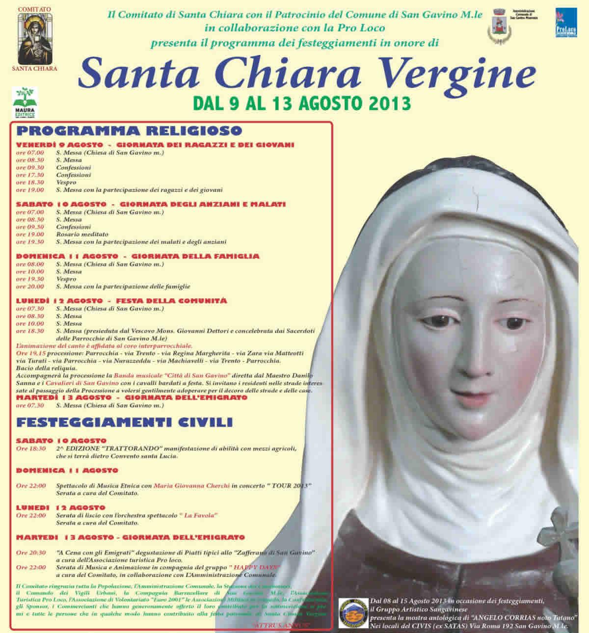 Il programma della festa di Santa Chiara 2013
