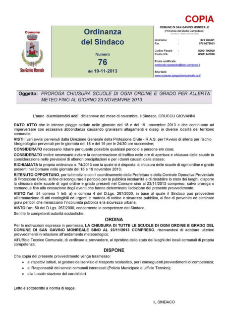 Ordinanza n. 76/2013
