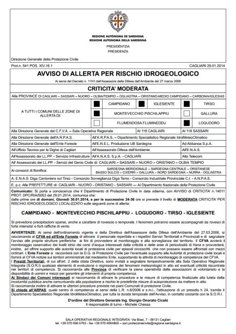Avviso di allerta per rischio idrogeologico - criticità moderata - per domani 30 gennaio.