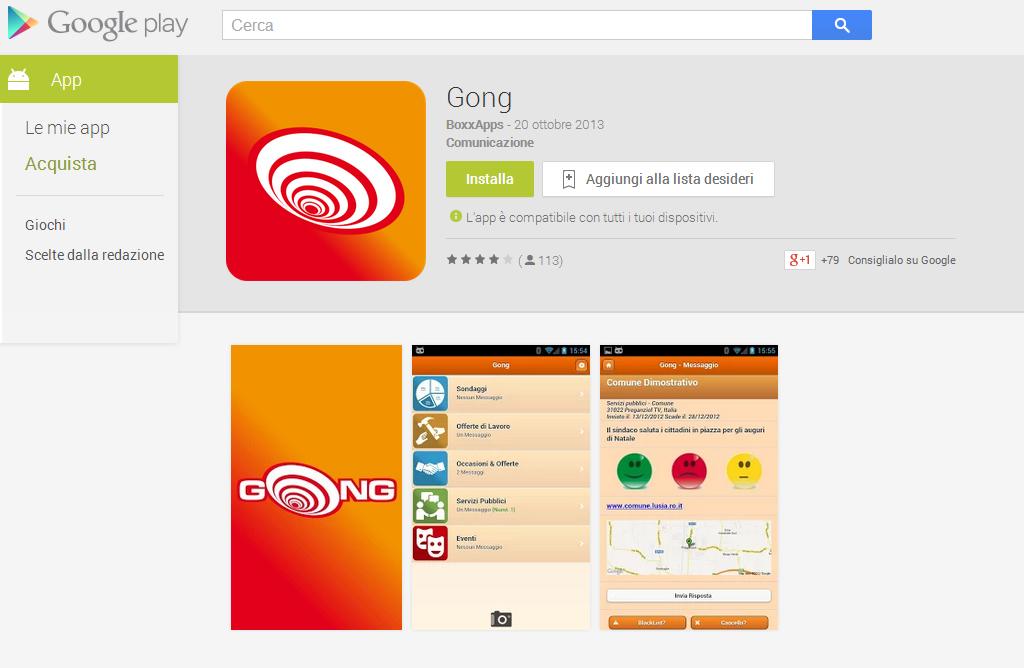GONG, l'app del Comune di San Gavino