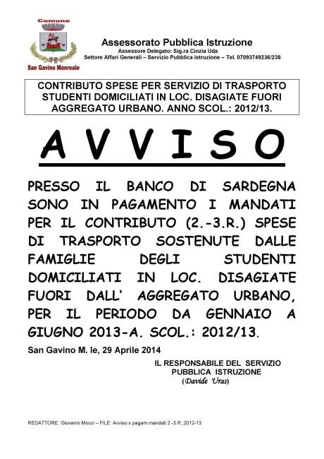 Pagamento mandati per spese di trasporto 2012/13