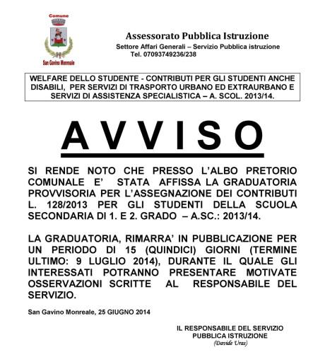 Contributi per studenti scuola secondaria, anno 2013/14