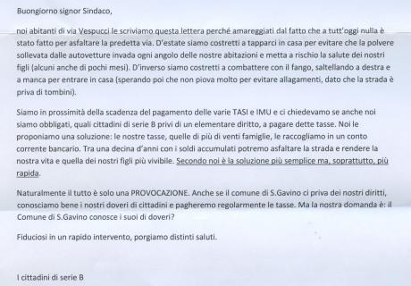 La lettera dei residenti in via Vespucci