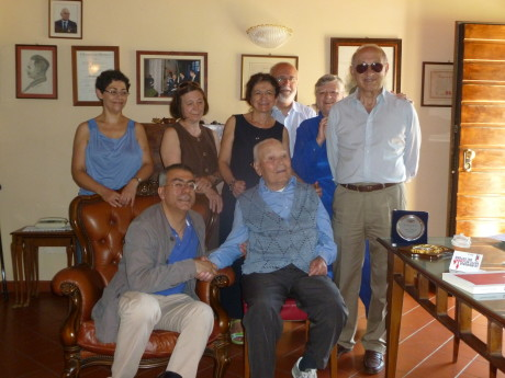 Partigiano Bruno Scano con la delegazione ANPI Medio Campidano - Asti - Lucca  (consegna tessera ad Honorem 19-06-2013)