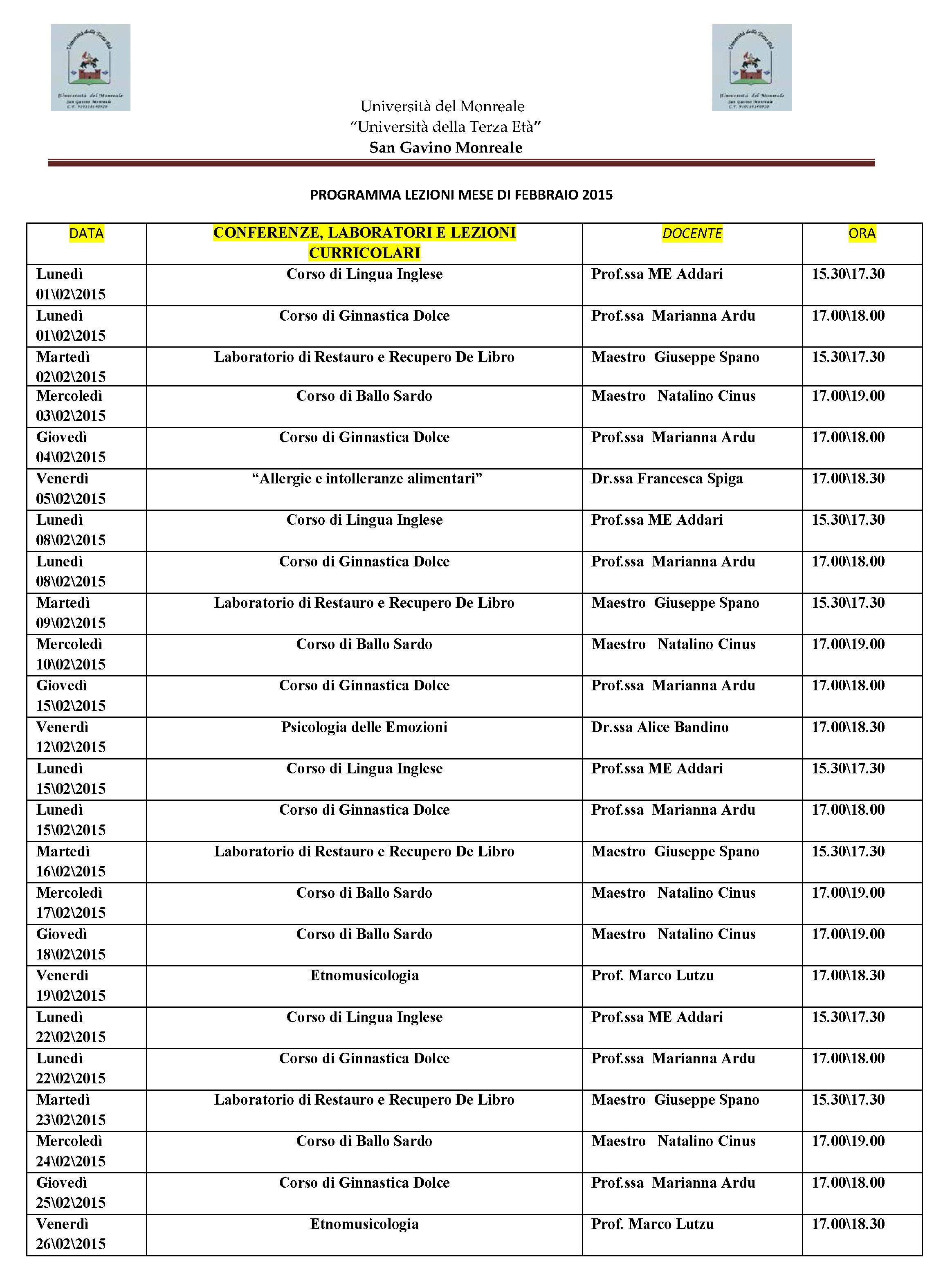 Università del Monreale: lezioni nel mese di Febbraio