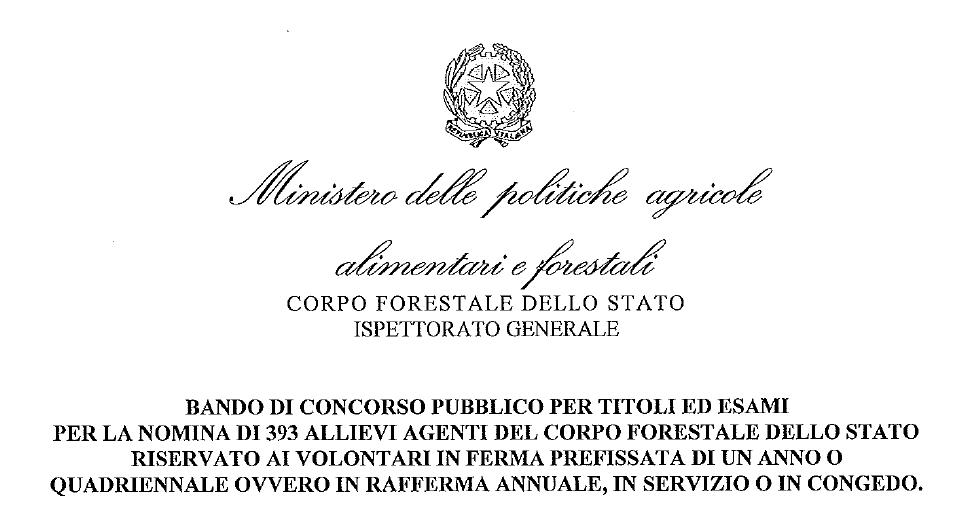 Bando di concorso pubblico per 393 agenti del Corpo forestale