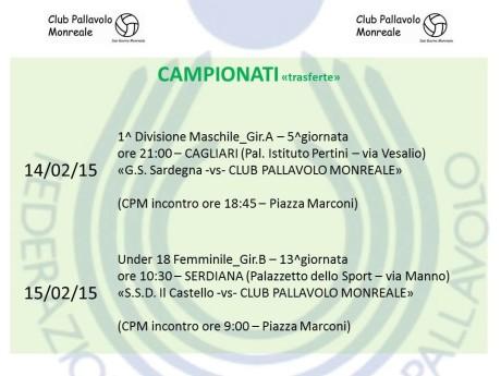 Club Pallavolo Monreale, 14-15 febbraio 2015
