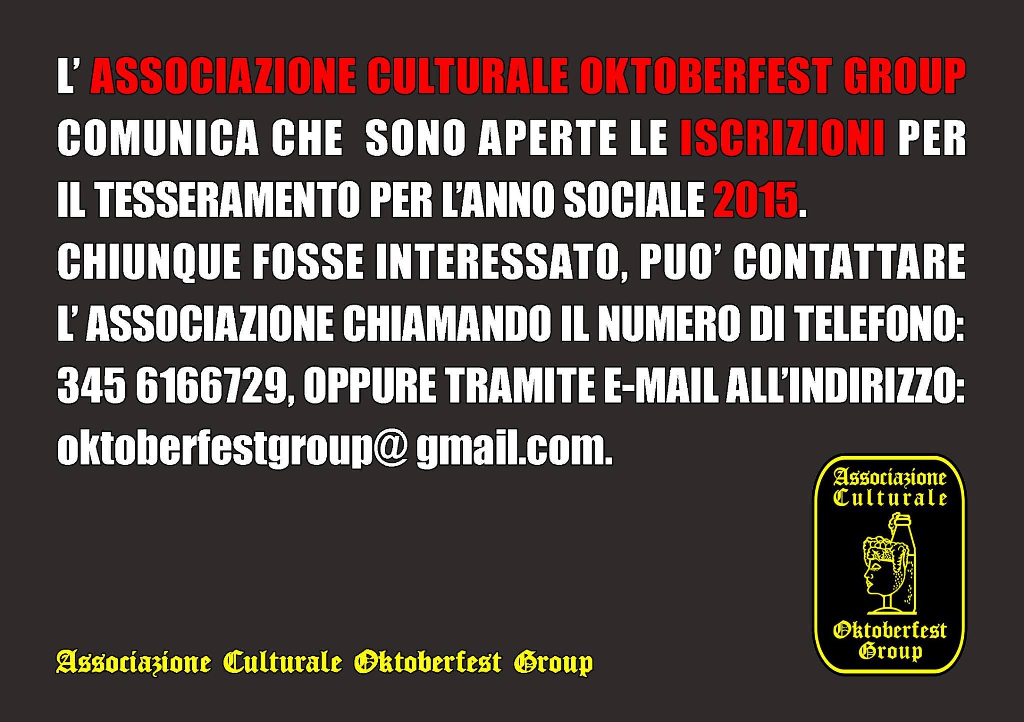 Oktoberfest Group, campagna iscrizioni 2015