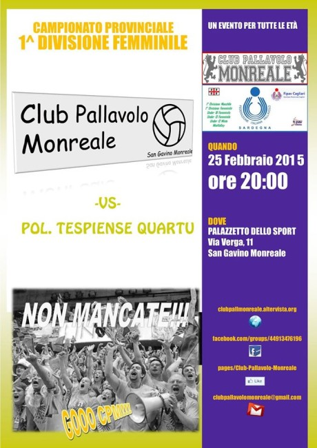Club Pallavolo Monreale - Polisportiva Tespiense Quartu