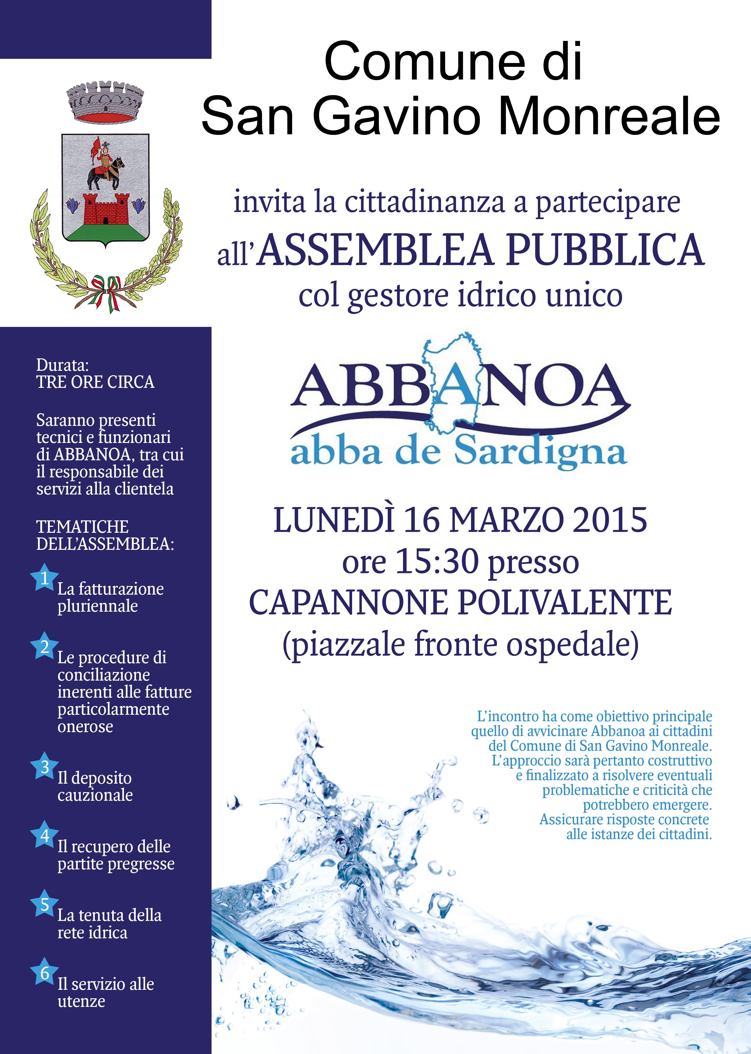 Assemblea pubblica col gestore unico Abbanoa