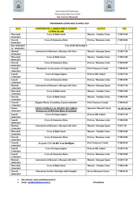 Università del Monreale: lezioni nel mese di Aprile 2015