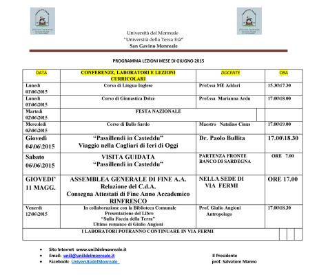 Università del Monreale: lezioni nel mese di Giugno 2015