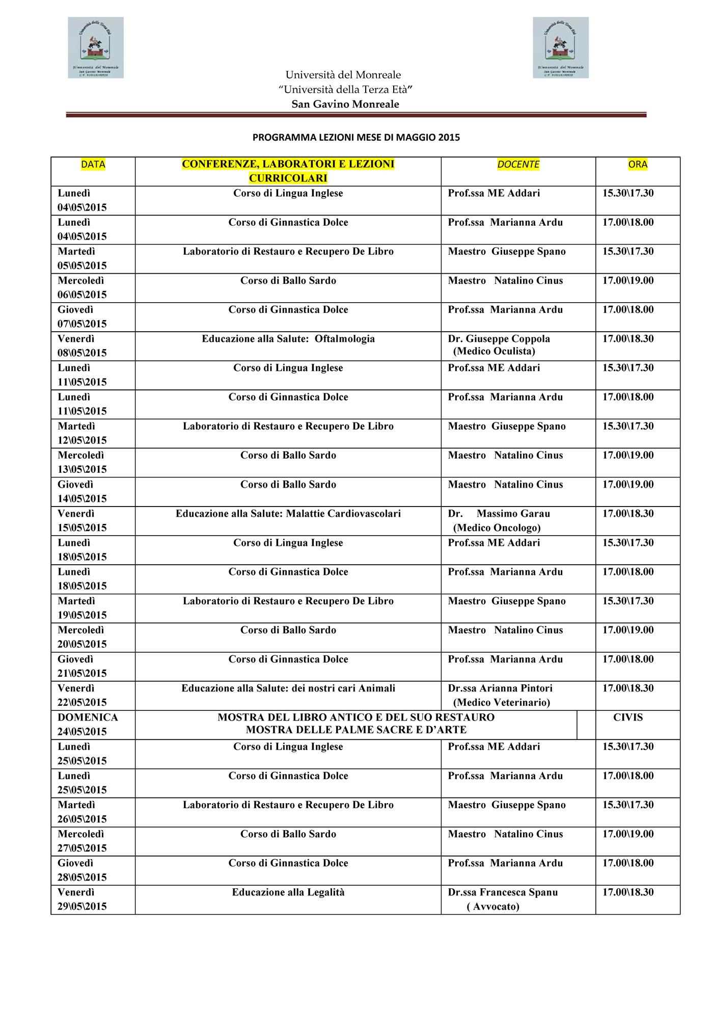 Università del Monreale: lezioni nel mese di Maggio 2015