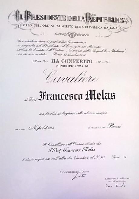 Franco Melas Cavaliere della Repubblica Italiana.