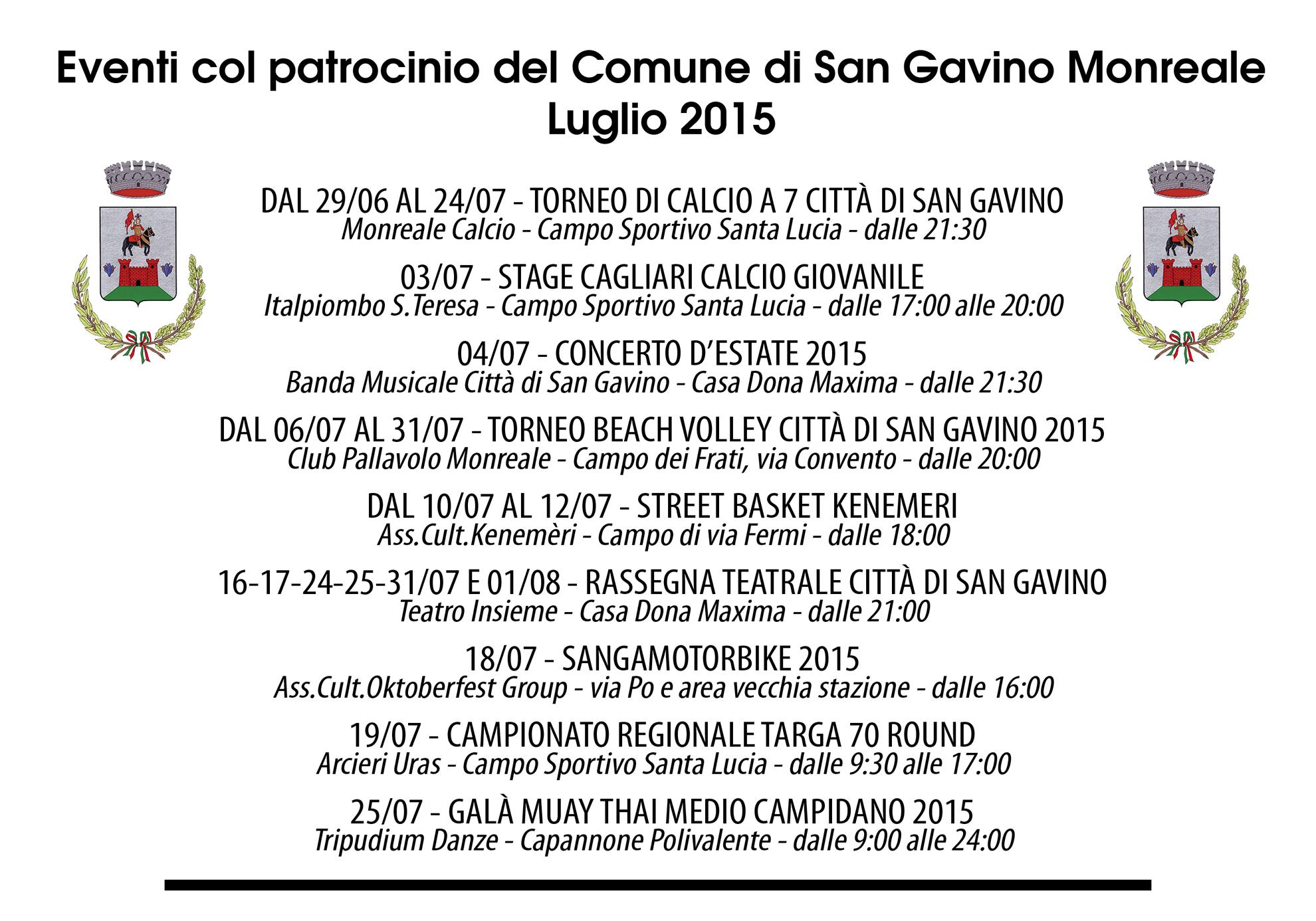 Eventi patrocinati dal Comune - Luglio 2015