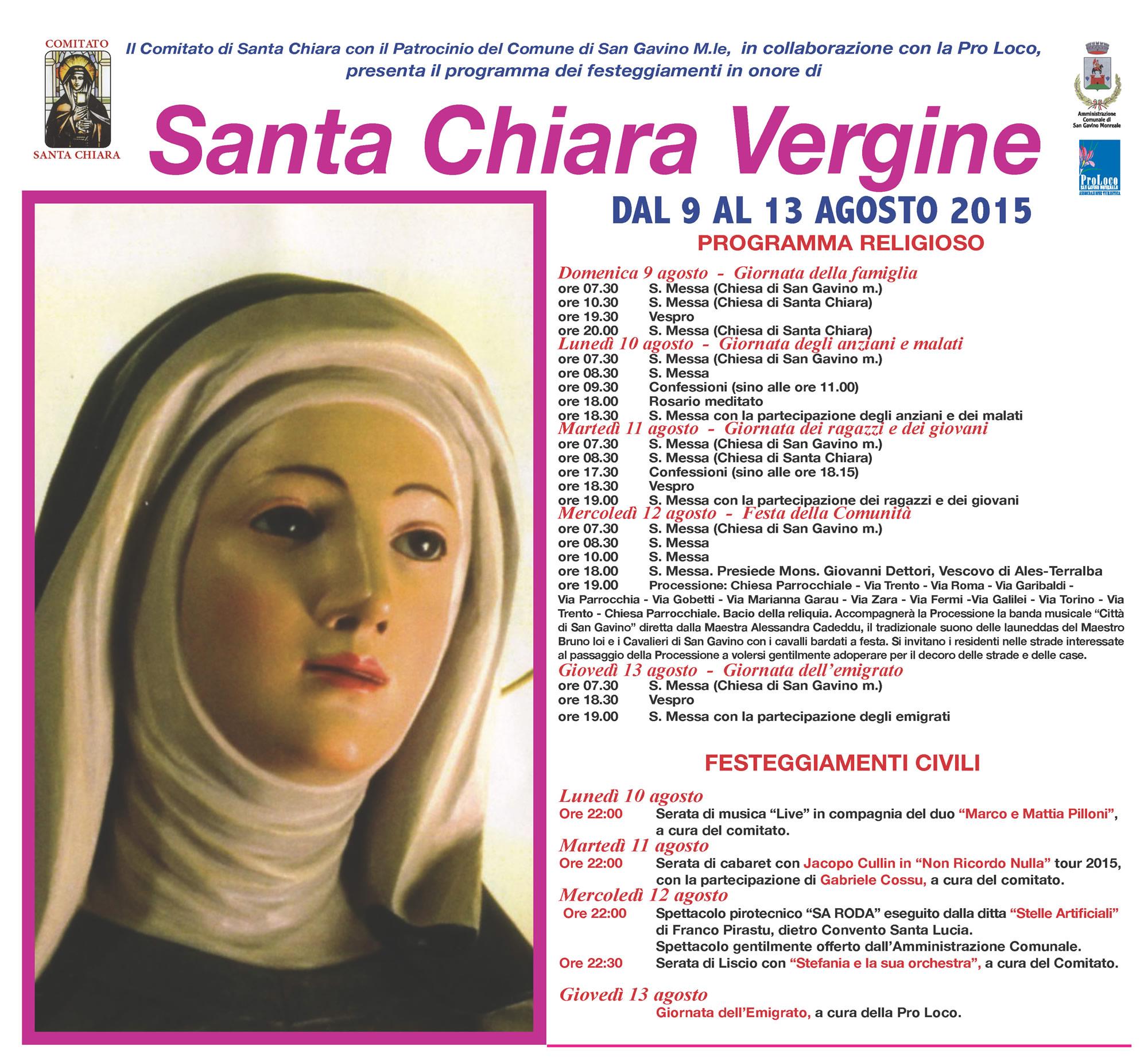 Festa di Santa Chiara 2015