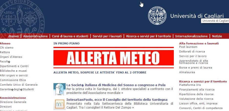 Allerta Meteo, l'Università di Cagliari sospende le attività sino al 2 ottobre