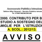 Contributo per borse di studio, anno 2012/13