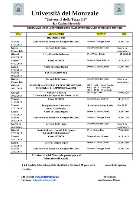 Università del Monreale: lezioni nel mese di Dicembre 2015