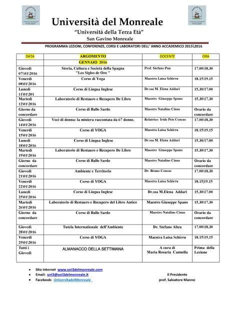 Università del Monreale: lezioni nel mese di Gennaio 2016