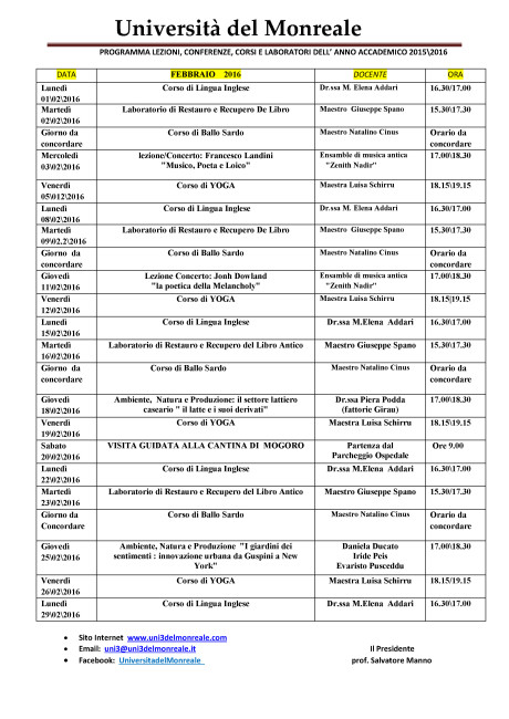 Università del Monreale: lezioni nel mese di Febbraio 2016