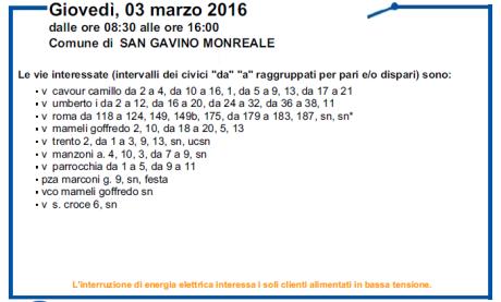 Disservizi ENEL previsti per il 2 e 3 marzo 2016