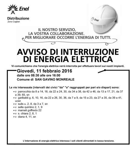 Disservizi ENEL previsti per l'11 febbraio 2016