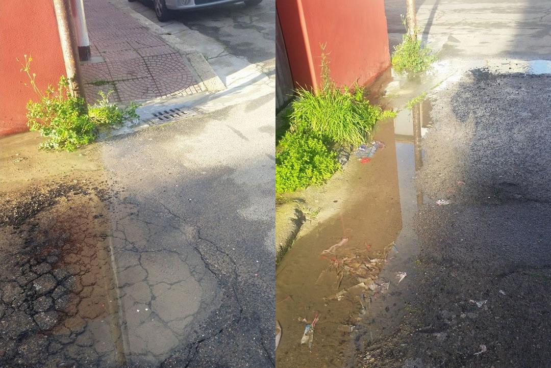 Perdita d'acqua tra via Mazzini e via Leopardi