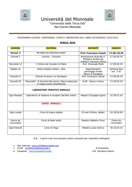 Programma Mese di  Aprile_20160326182218