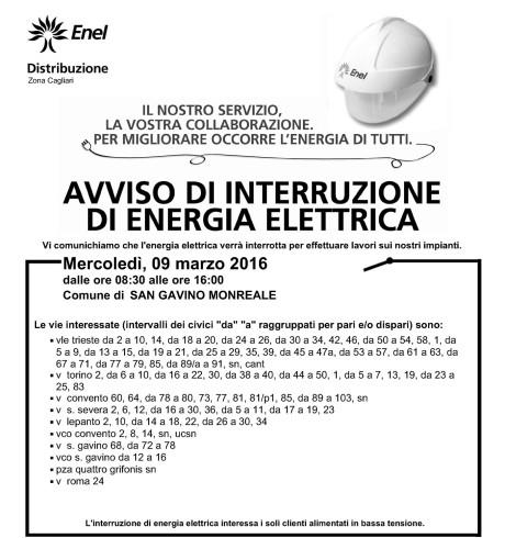 Disservizi ENEL previsti per il 9 marzo 2016