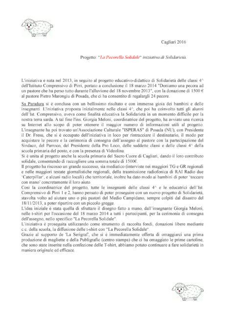 Progetto La Pecorella Solidale  2016