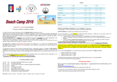 Locandina Beach Camp 2016