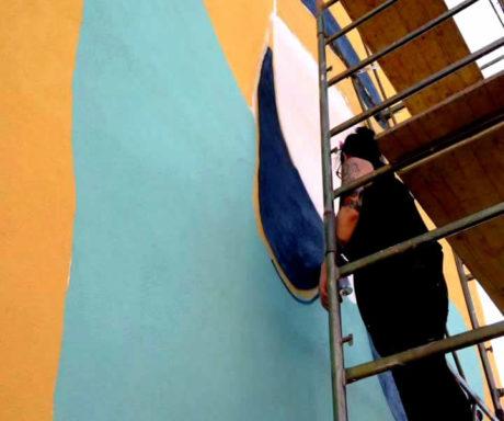 Inaugurazione del murale di La Fille Bertha