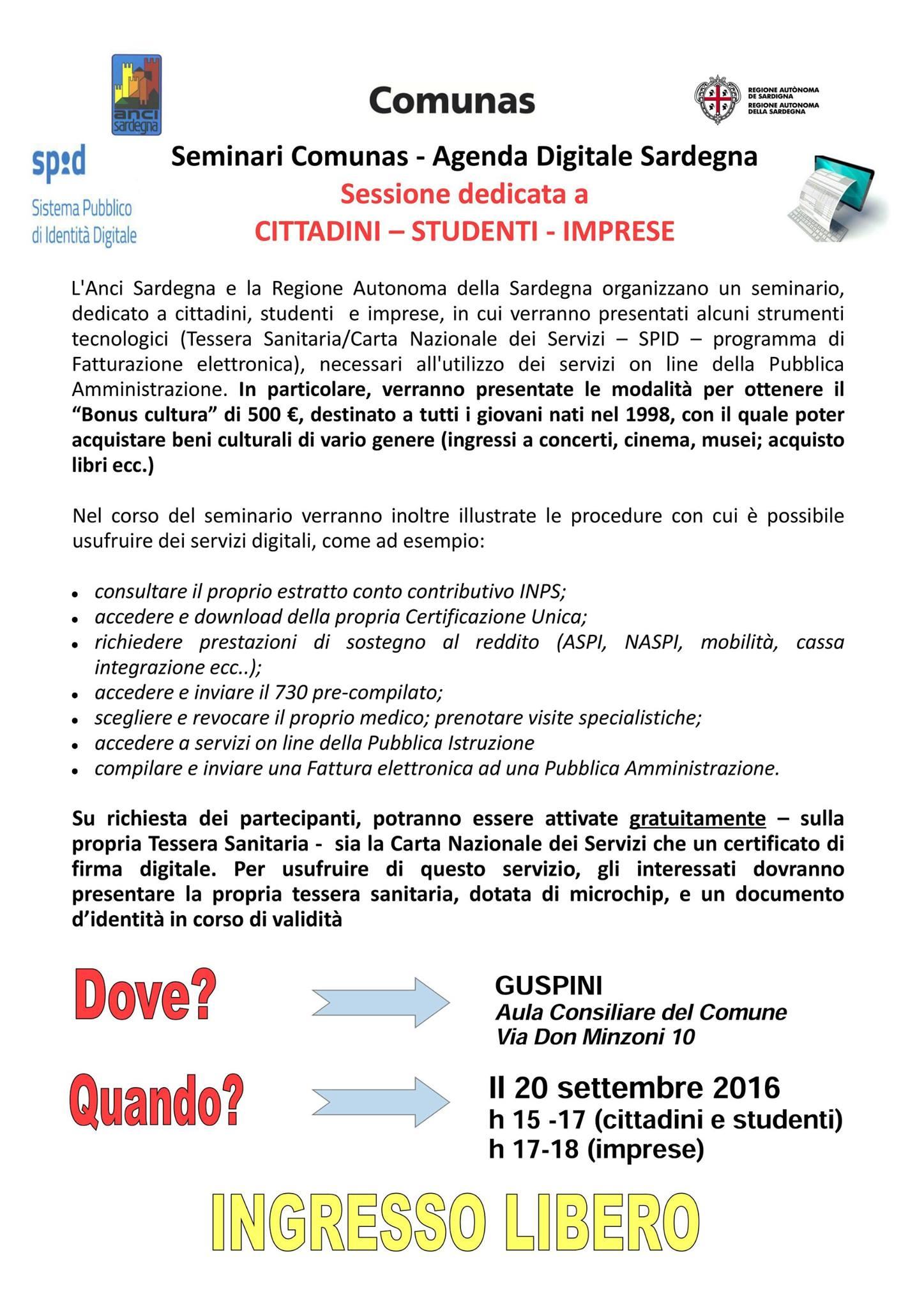 Seminari Comunas - Agenda Digitale Sardegna