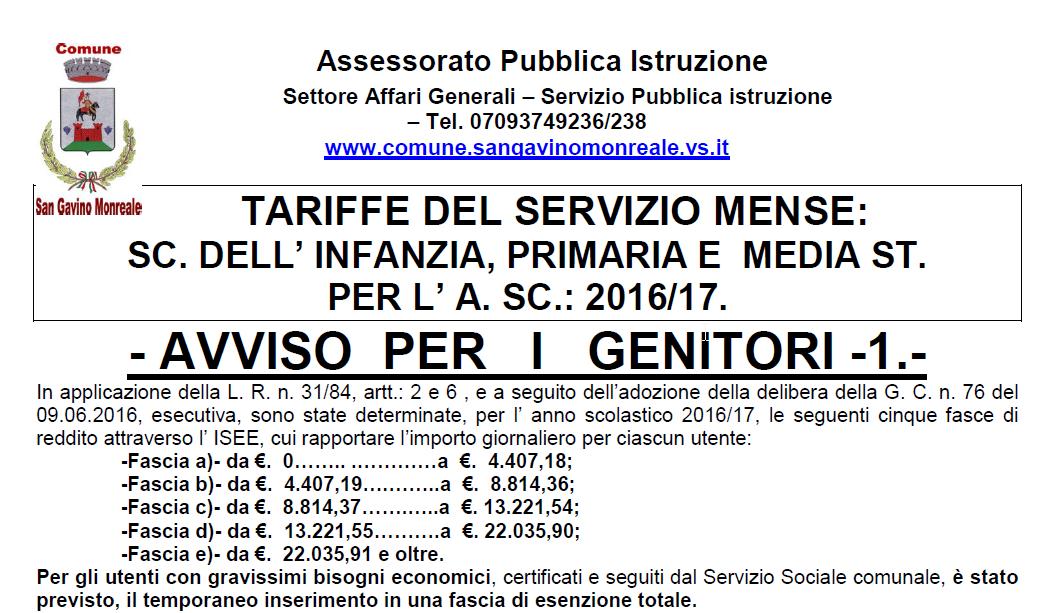 Servizio Mense Scolastiche, anno 2016/17
