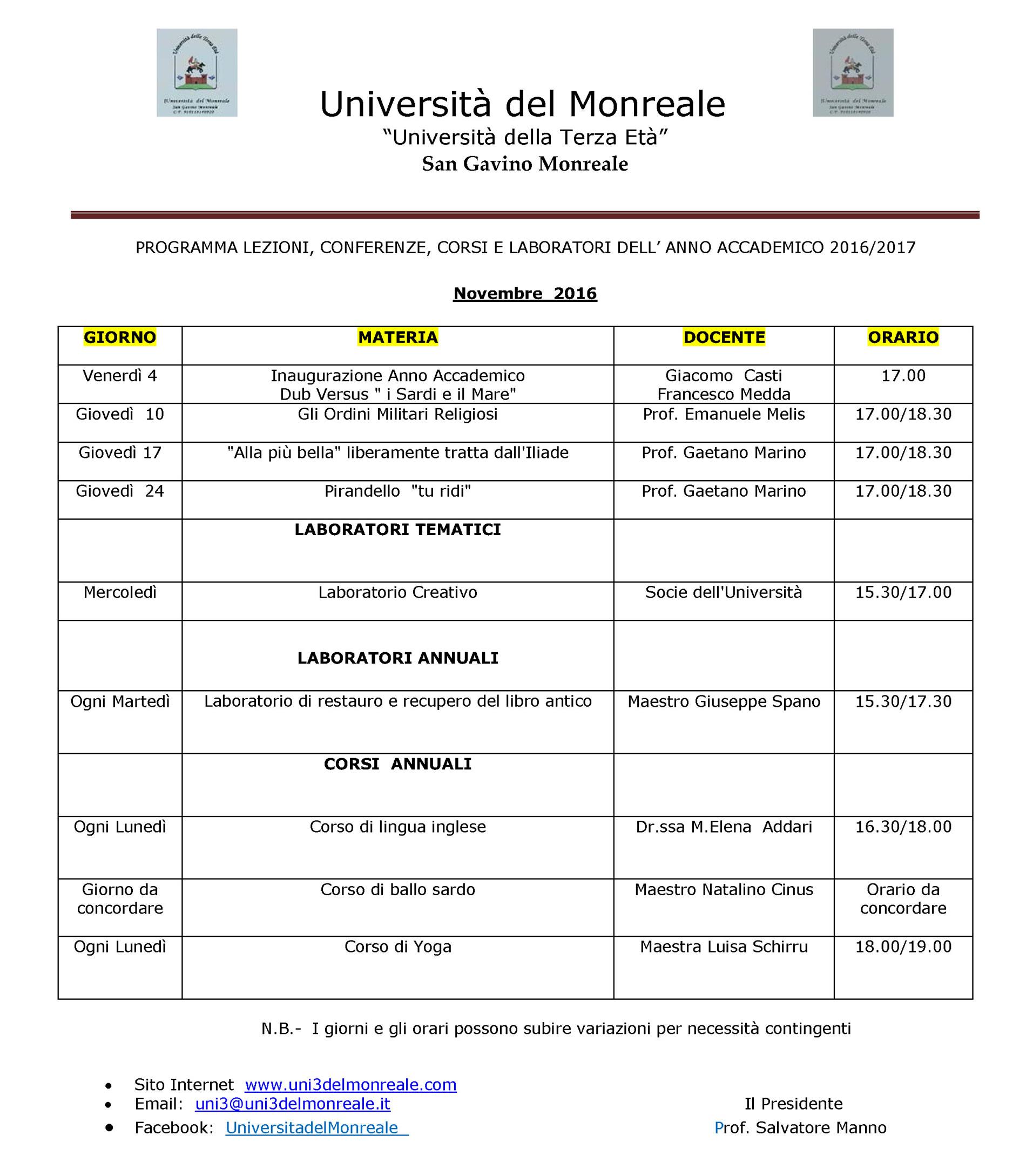 Università del Monreale: lezioni nel mese di Novembre 2016