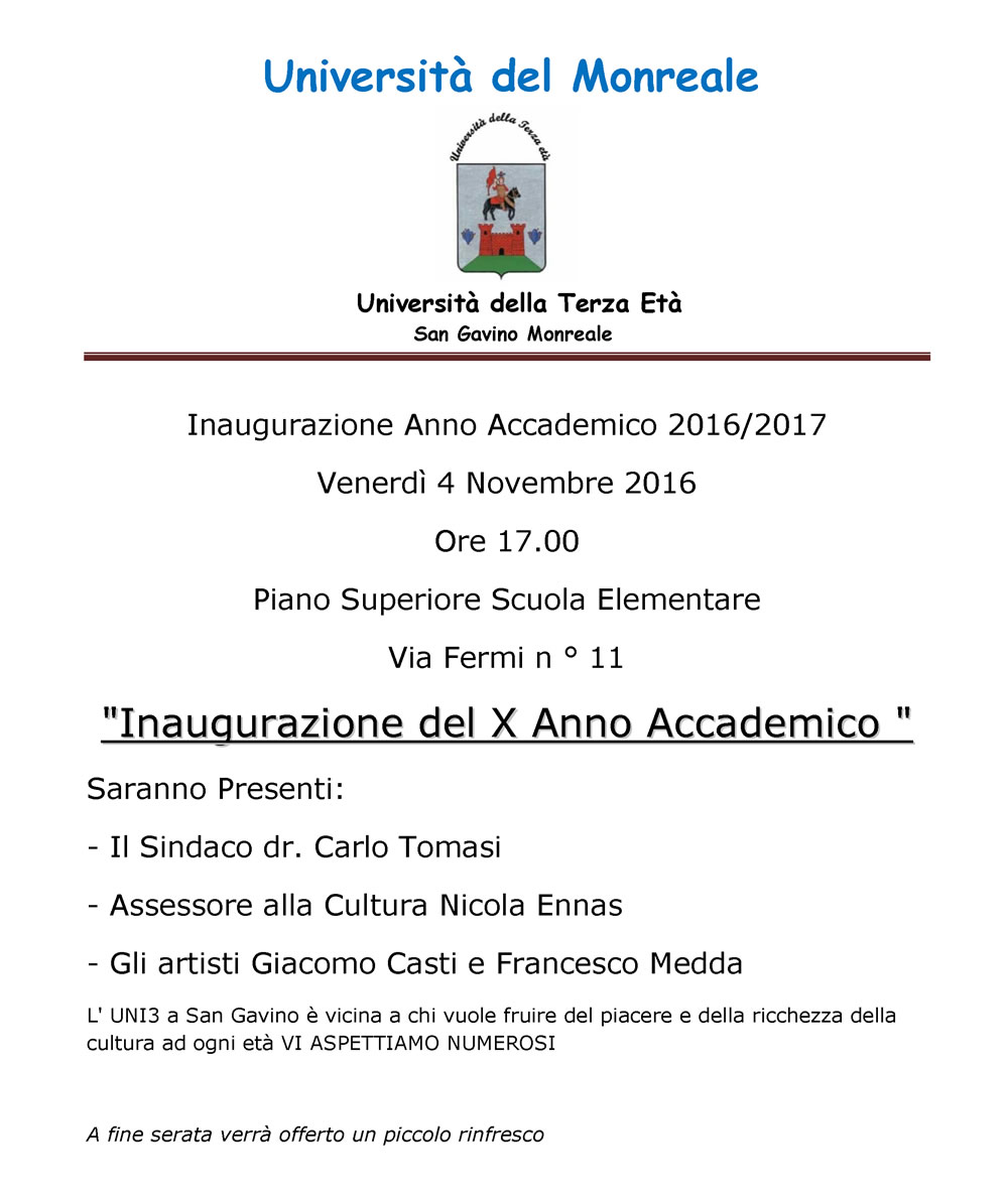 Uni3: inaugurazione Anno Accademico 2016/2017