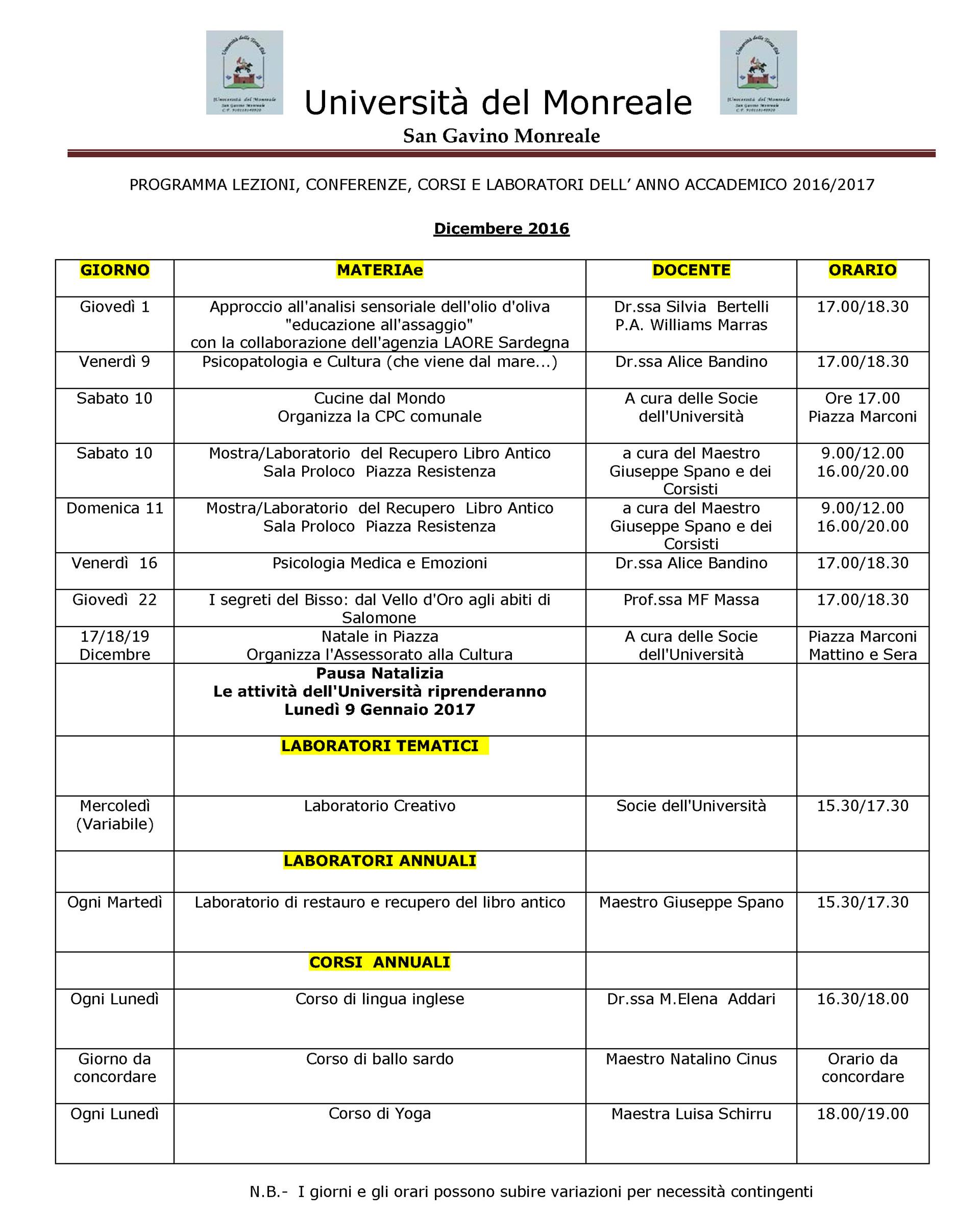 Università del Monreale: lezioni nel mese di Dicembre 2016