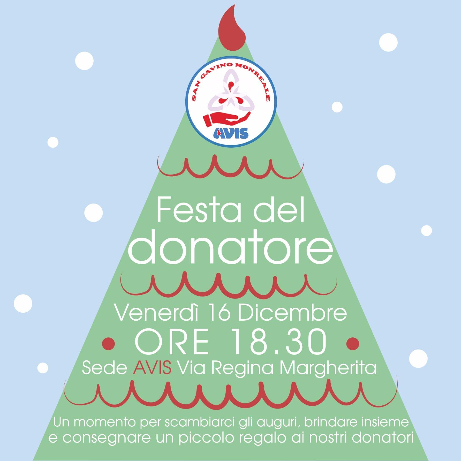 Venerdì 16 dicembre, la Festa del Donatore AVIS