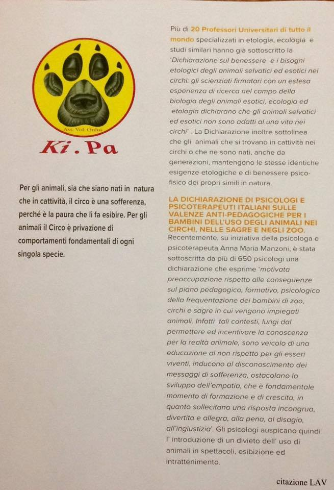 Associazione Ki.Pa contro il circo, per la salute degli animali