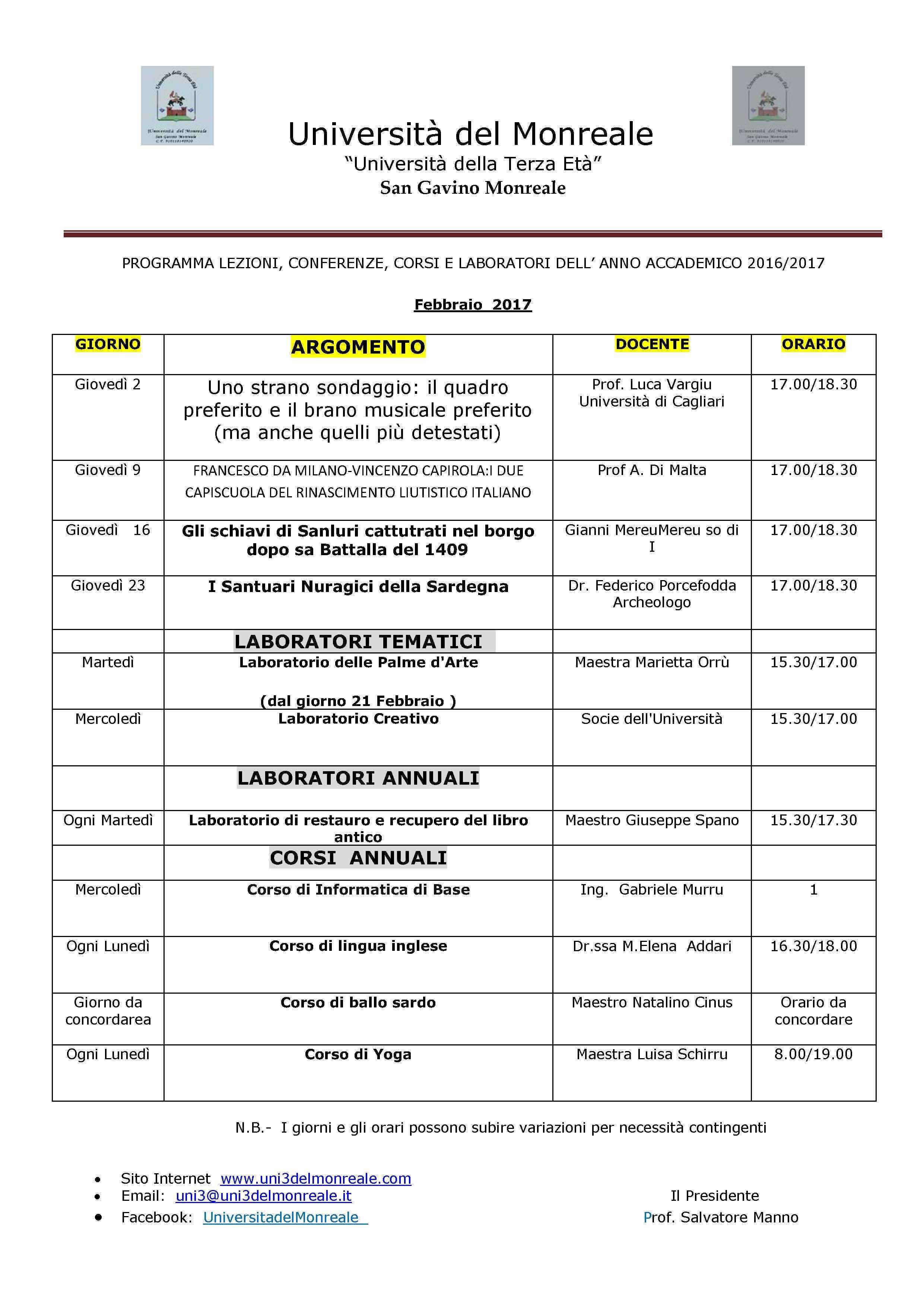 Università del Monreale: lezioni nel mese di Febbraio 2017